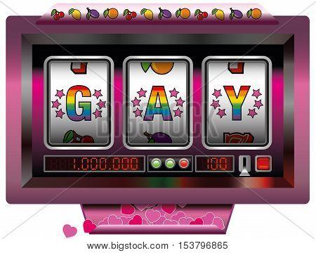 Gay slot machine with many winning hearts.