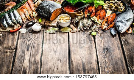Variety Of Seafood Shrimp, Fish, And Shellfish.