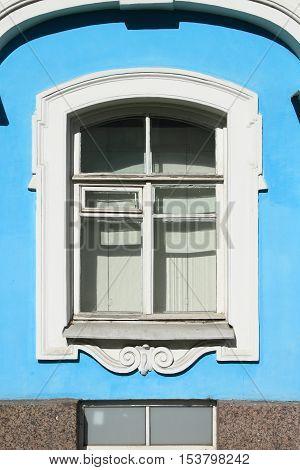 Renaissance window in Smolny orthodox monastery. Saint Petersburg Russia