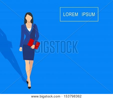 Vector illustration of faceless businesswoman with a folder in his hand isolated on a blue background