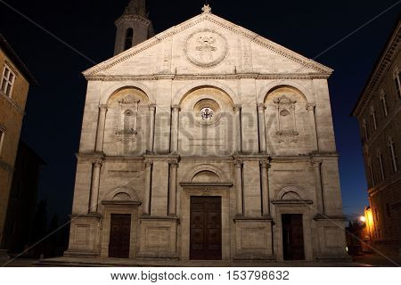 The Cathedral of Pienza by night. Tuscany