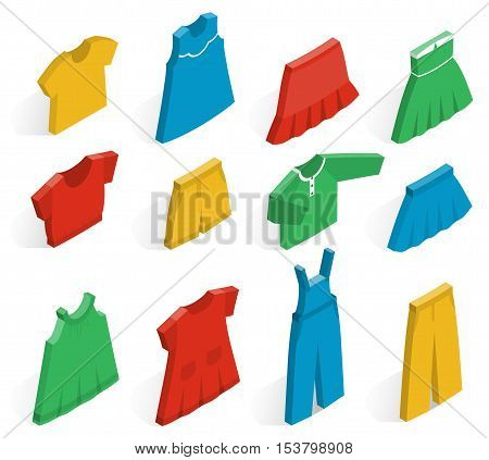 Isometric icon set children's clothes for girls on white background with shadows. Collection of clothing. Vector 3d illustration.