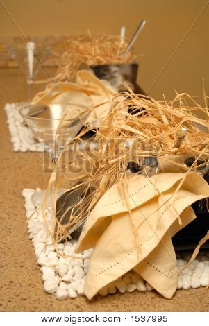 Two Place Settings With Straw