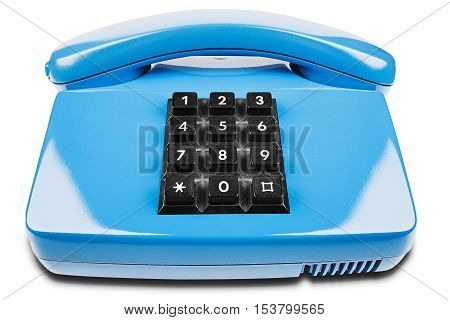 Blue phone with shadow on a isolated white background
