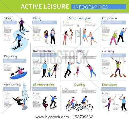 Active leisure people infographics with different games and activities in flat style isolated vector illustration