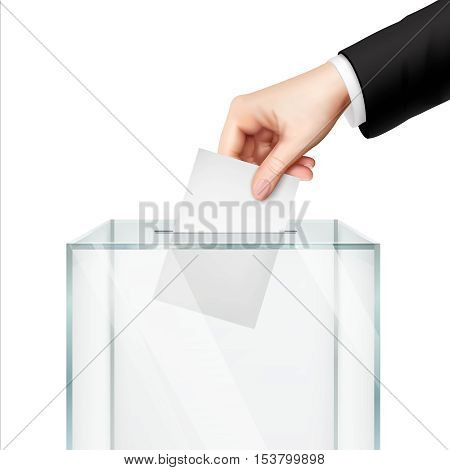 Realistic voting concept with hand putting vote paper in the ballot box isolated vector illustration