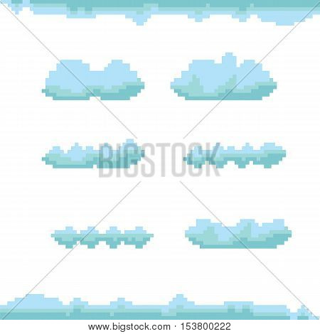 vector sky with clouds pixel art background. vector pixel art clouds collection. isolated clouds set for games and mobile applications.