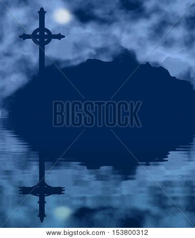 Cross silhouette and moon on a foggy night with water reflection. Halloween theme