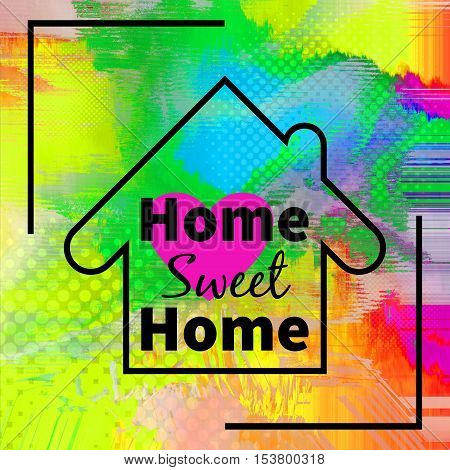 Home sweet home design with purple heart over colorful halftone background