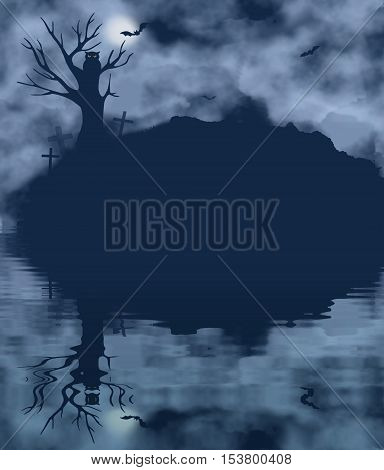 Tree bat owl and moon on a foggy night with water reflection. Halloween theme