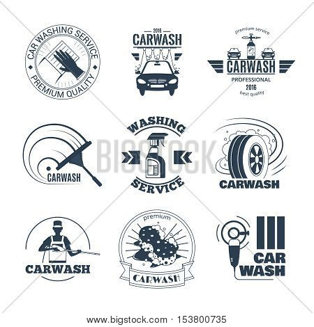 Full service and excellent quality mobile car wash companies chains black emblems labels collection isolated vector illustration
