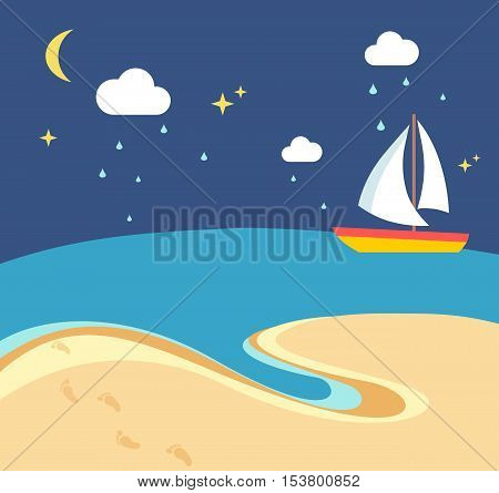 Beach scene with the sailing boat at a rainy night in flat style