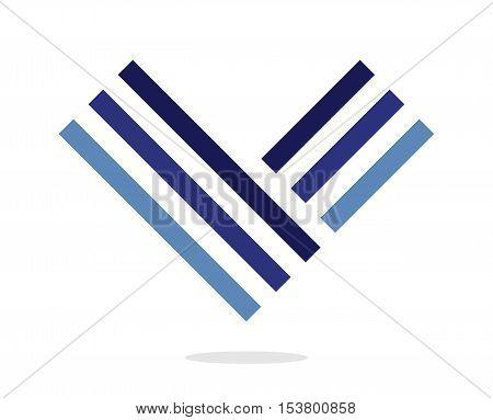 Blue letter V logo. Design element. Isolated on white background