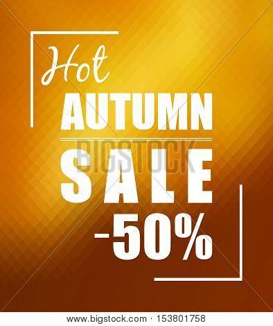 Hot autumn sale minus 50 percent over sunny golden polygonal background