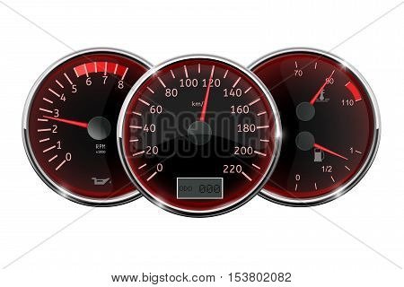Car dashboard - speedometer tachometer fuel and temperature gauge. Vector illustration isolated on white background