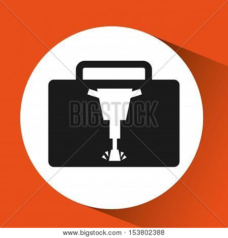jackhammer construction icon metal yellow design vector illustration