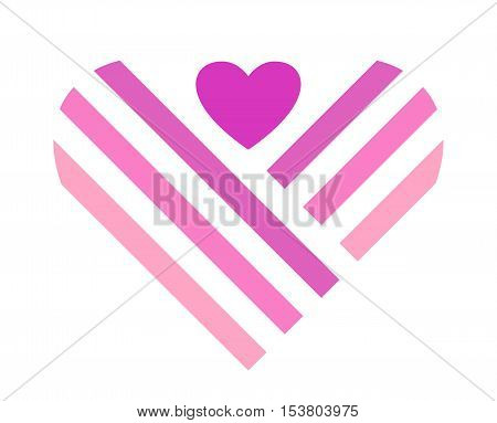 Pink heart symbol isolated on white background. Design element or logo