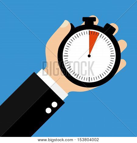 Hand holding Stopwatch showing 4 Seconds or 4 Minutes - Flat Design