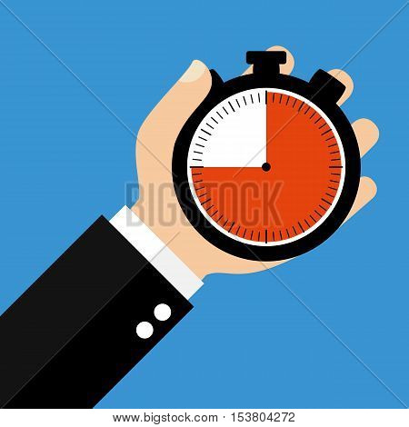 Hand holding Stopwatch showing 45 Seconds 45 Minutes or 9 Hours - Flat Design