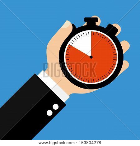 Hand holding Stopwatch showing 50 Seconds 50 Minutes or 10 Hours - Flat Design