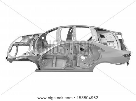 Unibody Car Chassis isolated on white background. 3D render poster
