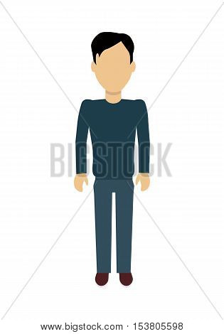 Male character without face in blue pullover and pants vector in flat design. Man template personage figure illustration, mobile app pictogram, logos, infographic. Isolated on white background.