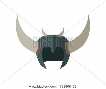 Fantasy helmet with horns. Vector in flat style. Terrible Armor of orcs horde. Game accessories model. Illustration for game industry concepts, icons and design. Isolated on white background.