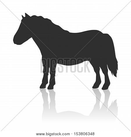 Red pony black logo vector. Flat design. Domestic animal. Country inhabitants concept. For farming, animal husbandry, horse sport illustrating. Agricultural species. Isolated on white background