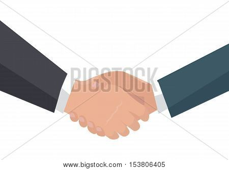 Handshake vector in flat design. Businessmen shaking hands. Good deal, partnership, human gesture conceptual Illustration for business concepts. Isolated on white background.