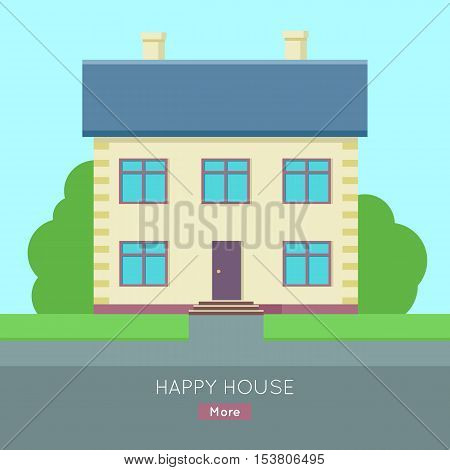 Happy house vector web banner in flat style. Buying a new place for living. Cottage house with bushes and grass illustration for real estate company web page design, advertising, housing concepts.