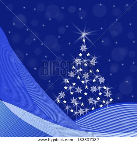 Abstract Christmas tree with sparkling snowflakes stars snow drifts a snowfall on a blue background - festive illustration