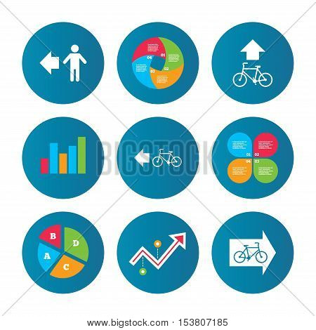 Business pie chart. Growth curve. Presentation buttons. Pedestrian road icon. Bicycle path trail sign. Cycle path. Arrow symbol. Data analysis. Vector