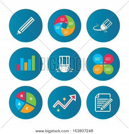 Business pie chart. Growth curve. Presentation buttons. Pencil icon. Edit document file. Eraser sign. Correct drawing symbol. Data analysis. Vector