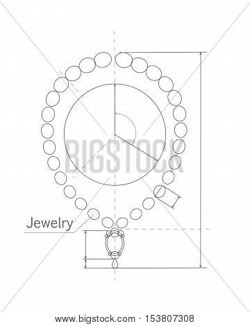 Jewerly production sketch. Jewelry designer works on hand drawing sketch of necklace. Draft outline of necklace design. Project of brilliant ornamental chain or string of beads, jewels, or links. Vector