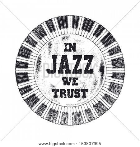 In Jazz we trust. Cover design. Vector illustration.
