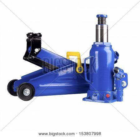 Blue hydraulic floor jack and Hydraulic Bottle Car Jack isolated on white background.