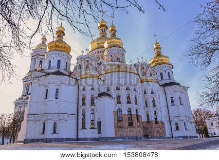Dormition Cathedral of Kiev Pechersk Lavra Christian Monastery and Great Lavra Bell Tower in winter