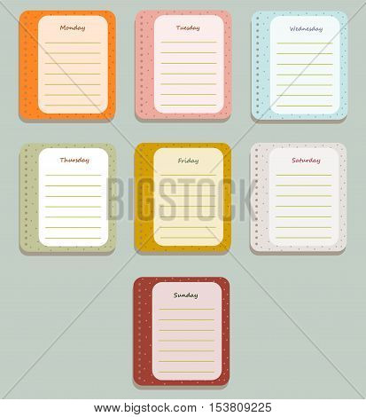 The sheets of the planner for weekly planning in a cute polka dots with the names of the days of the week. Diary.The Style Of Provence. Gentle colors. Vector illustration.