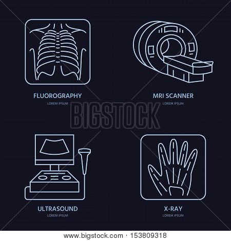 Modern vector line icon of x-ray MRI ultrasound. Medical research clinic linear logo. Outline xray laboratory symbol. Fluorography design element for site hospital. Lung canser check up xray sign