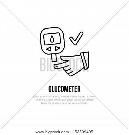 Vector line icon of glucometer. Diabetes linear sign. Outline insulin test symbol for medical equipment brochures. Hypoglycemia sugar blood check up. Healthcare design element for sites hospital.