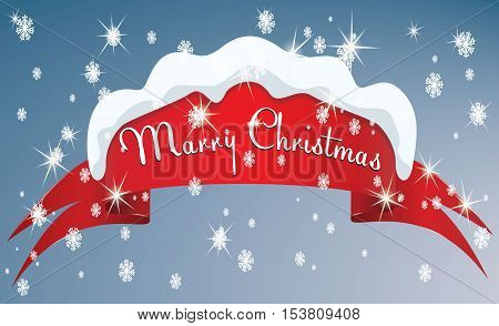 Red curved paper banner, ribbon with Marry Christmas inscription isolated on white background. Vector illustration. Background for your design.