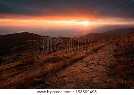 Sunset from Hadji Dimitar peak, Buzludja, Bulgaria