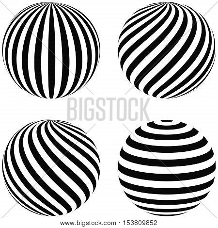 Set striped balls 3D diagonal swirls horizontal curvature vertical arc on the sphere vector planet