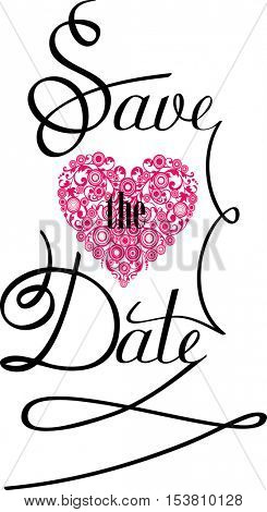 Save the Date Text Design. Illustration.