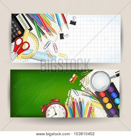 Set of two Back to school horizontal banners. Templates with supplies tools. Place for your text. Layered realistic vector illustration.