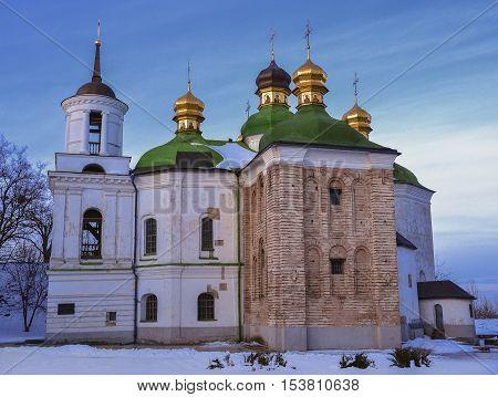 Church of the Saviour at Berestove in Kiev Pechersk Lavra Christian Monastery in winter, 11th century