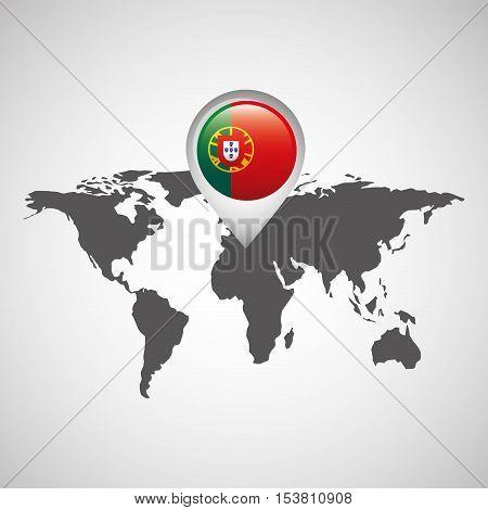 portugal flag pin map design vector illustration eps 10