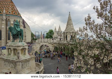 Budapest, Hungary - May 19, 2010: Tourist in Fisherman Bastion on the main attraction of Budapest
