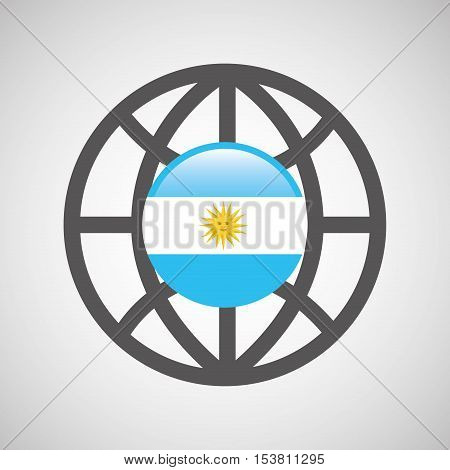 globe sphere flag argentina country button graphic vector illustration eps 10