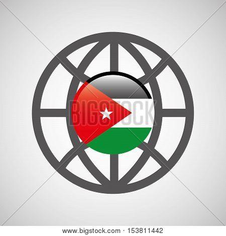 globe sphere flag jordan country button graphic vector illustration eps 10
